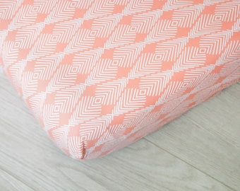Fitted Crib Sheet | Apricot Geometric Design