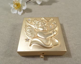 Beautiful Vintage Gold Tone Cherub Pill Box  DL#2357