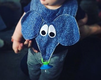 Elephant Pacifier Bib Baby Bibs, handmade baby bibs Blue for boys Pink for Girls Trunk holds Teething Ring or Pacifier, Baby Gift idea
