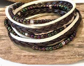 Boho Leather Wrap Bracelet/Leather Suede Beaded Wrap, Seed Bead Wrap/Cream/Chocolate Brown/Gypsy Bracelet