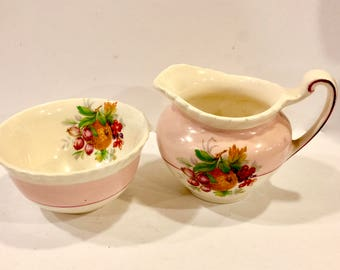 Vintage Old English, Johnson Bros, Sugar Bowl and Creamer, Pastel Pink, Hand Painted Detail, Fruit Flower Design, Scalloped Rim, Circa 1920s
