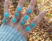 howlite, ring, crystal, stone, turquoise, statement, grunge, hipster, statement , gemstone, blue, boho, gypsy, bohemian, adjustable, rings