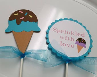 Ice cream centerpiece, Ice cream decorations, Ice cream ceiling hangers, Ice cream banner, Ice cream party, Ice cream sprinkle party