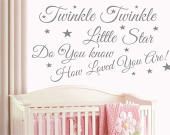 Baby Wall Sticker Quote - Twinkle Twinkle Stars Child Nursery Bedroom Decal T5