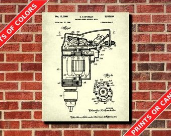 Electric Drill Patent Print, Power Tools Patent Print, Carpenter Blueprint, Woodworking Patent, Workshop Decor, Electric Drill poster