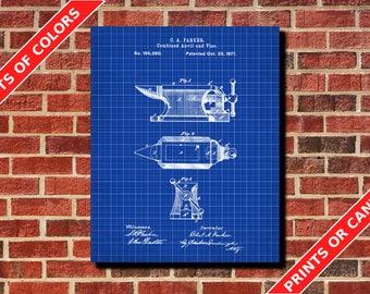Anvil Patent Print Blacksmith Design Poster Art Anvil Blueprint Engineer Gift Workshop Decor