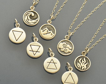 Sterling Silver Elemental Charm Necklace. Earth Element Charm. Fire Element. Air Element. Water Element.