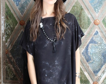 Silk tunic top - Black  caftan top - Tie dye boho caftan - Bohemian clothing