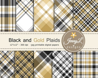 Black and Gold Plaids Digital Papers, New Year, Holiday Digital ScrapbookingPaper,