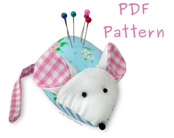 Cute Mouse Pin Cushion PDF Sewing PATTERN & Full Instructions, Make Your Own, Easy To Sew