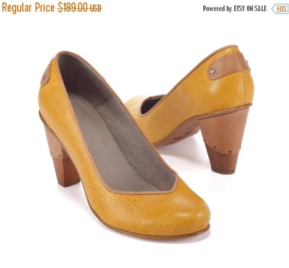 Mustard High Heel Leather Shoes / Women Yellow Evening Shoes / Office Shoes / Wooden Heels Shoes / Sexy Shoes / Texturd Shoes - Emily