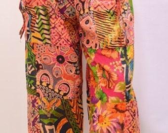 Plus Size Hippie Noho Retro Floral Patchwork Harem Pant Trouser Orange 18 20