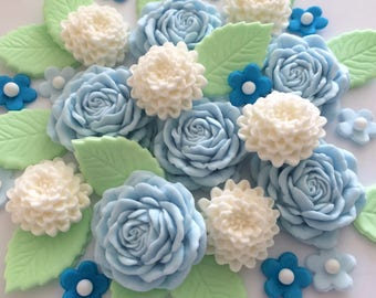 BLUE 'MUMS 'N' ROSES with leaves edible sugar paste flowers cupcake cake decorations