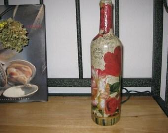 Roses Lamp | Wine Bottle Lamp | Lighted Wine Bottle | Paris Decor | Home Decor | Floral Decor