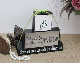 Nursing Gift, Nurse Appreciation, Nursing Graduation Gift, Nurses are angels in disguise, Christmas Gift Idea, Nurse Name Sign, RN Gifts