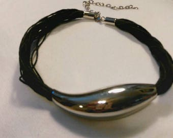 steampunk Black and Silver Metal  Choker Necklace