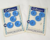 """Vintage Buttons Estate Auction - 9 Blue 2 Hole 1950s Lot 3/4"""" Costumakers Round Indented Original Card"""