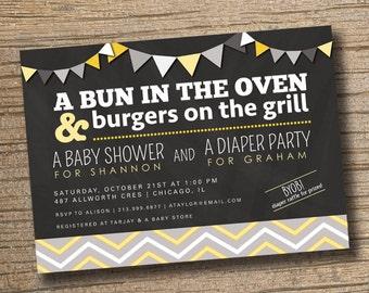 Couples Baby Shower Invitation, Co-ed Baby Shower Invite, Diaper Party, Bun in the Oven, BBQ Baby Shower, Chevron Striped Invitation, Modern