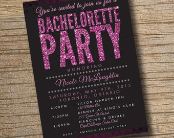 Bachelorette Party Invite, Stagette Party Invite, Glitter Bachelorette Invitation, Glitter Invitation (Customizable & Printable)