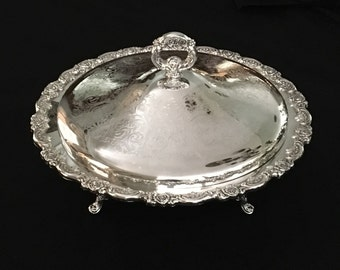 Wm A Rogers Silverplate Covered Serving Bowl//Covered Casserole//Footed //Rose Ornamentation// Large Server With Lid