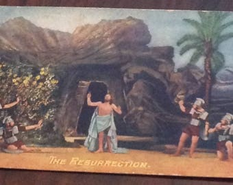 """Easter """"The Resurrection"""" Antique Postcard with Benjamin Franklin One Cent Stamp"""