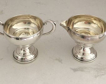 Weighted Sterling Silver Creamer Pitcher and Open Sugar Bowl Sterling Creamer and Sugar