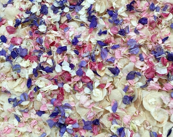 Wedding confetti biodegradable handmixed natural dried petals pink, purple and ivory vintage