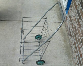 Vintage Mid Century Metal Wire Collapsible Industrial Cart 1950's/1960's