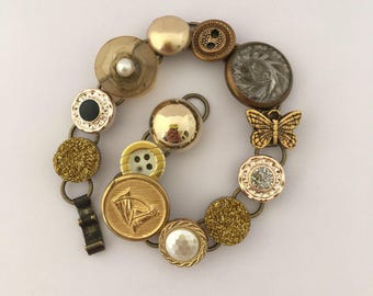 Chain Bracelet, Vintage Buttons and Notions, Button Bracelet, Gold Bracelet, Gold Charm Bracelet, Gold Buttons