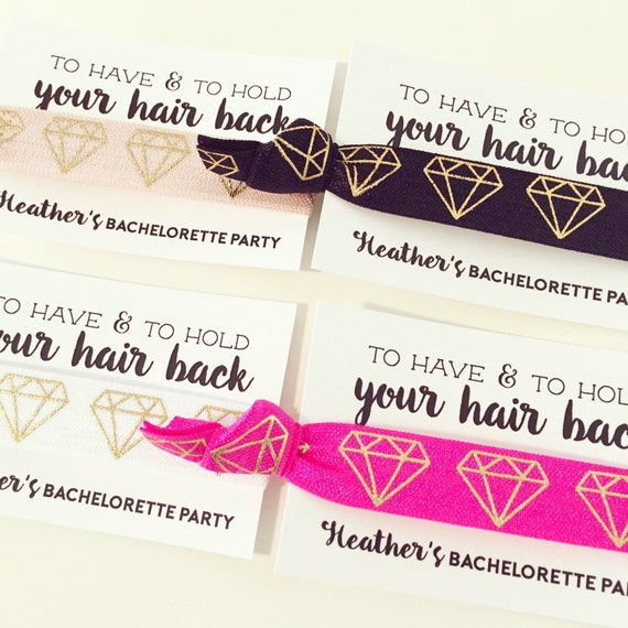 Bachelorette Party Hair Tie Favors | Diamond Bachelorette Party Favor Hair Ties, Bridal Shower Favor, Pink Black White Gold Diamond Ring Gem