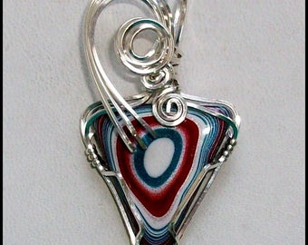 Original Fordite Pendant Wrapped in Sterling Silver Wire