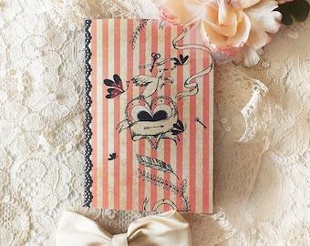 Notebook -  mini notebook - illustrated notebook - heart - tattoo girl