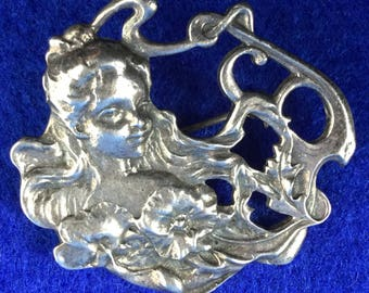 Art Nouveau Mucha Girl with Flowers Sterling Silver Pendant Brooch marked 925