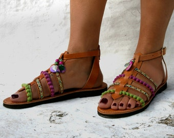 Dressed Gladiator with Ethnic Fabric braid and charms : Paxos