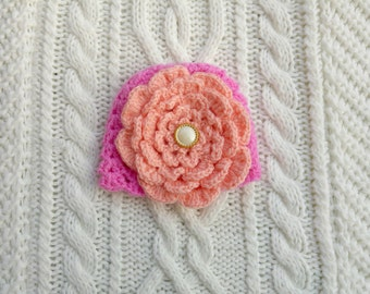 Handmade crochet pink newborn hat with a flower. Special occasion / newborn photo prop