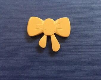 SALE! Bakelite Sparklite Bow Lapel Pin in White