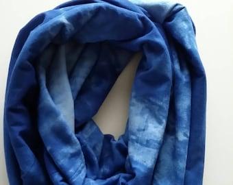 Tie dye blue infinity scarf