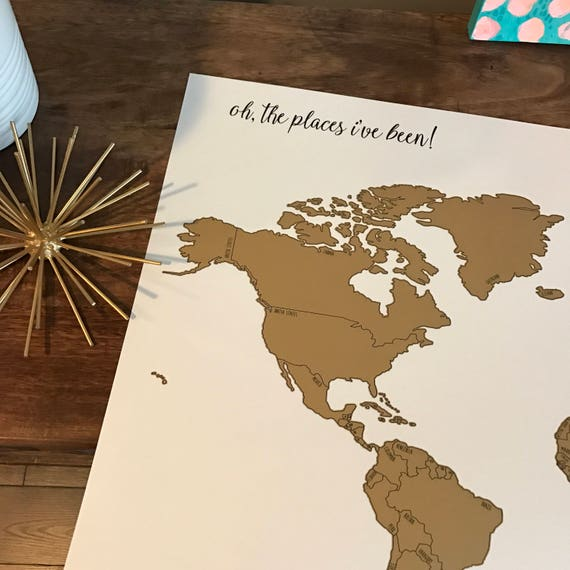Personalized Watercolor World Scratch Off Map