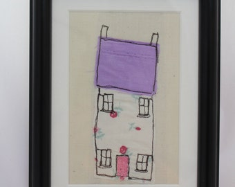Quirky little house, applique art, handmade fabric picture