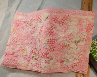 Handmade Pink Lacey Mini Composition Notebook Cover