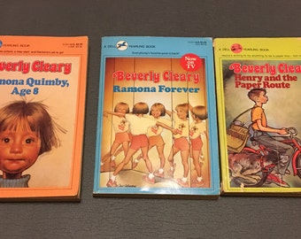 Beverly Cleary Ramona Quimby, Age 8, Ramona Forever, Henry and the Paper Route, Henry and the Clubhouse, 1980s, vintage books