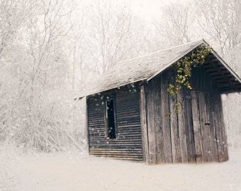 Snowy Shed Photography, Wall Decor, Farmhouse Decor, Print, Photography, Fine Art, Farmhouse Decor, Rustic Modern Photography