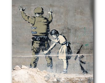 Banksy Soldier Search Brushed Aluminum Metal Print