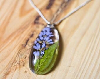 Flower pendant - resin & sterling silver