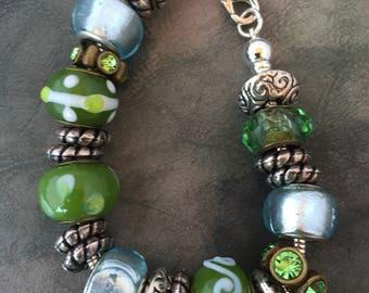 Large beautiful green and silver Charm Bracelet, Change charms as you like.Bangle bracelet,Just like the Pandora bracelet. Lobster claw.