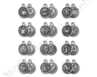 TierraCast Zodiac Charms, Antique Silver-Plated Double-Sided Astrology Charms, Authorized TierraCast Dealer, Fast Shipping (T910)