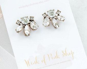 Bridesmaid Earrings, Bridal Statement Earrings, Bridesmaid Gift Earrings, Crystal Flower Wedding Earrings, Bridesmaid Gift, Crystal Earrings