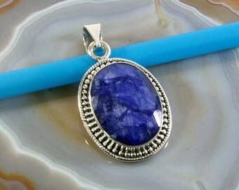 Sapphire in 925 sterling silver pendant - Sapphire and silver pendant - 4212