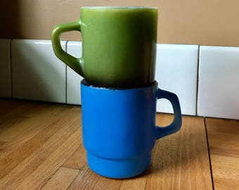 Vintage set of 2 Fire King mugs, stackable green and blue Anchor Hocking