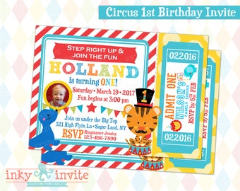 Circus 1st Birthday Invite 1st Birthday Carnival Party